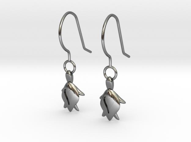 Turtle Heart Earrings in Polished Silver