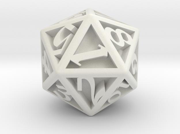 D20, Engraved  in White Natural Versatile Plastic