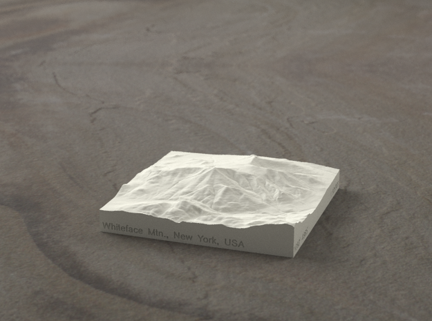 3'' Whiteface Mtn., New York, USA, Sandstone 3d printed Radiance rendering of model, viewed from the SSE