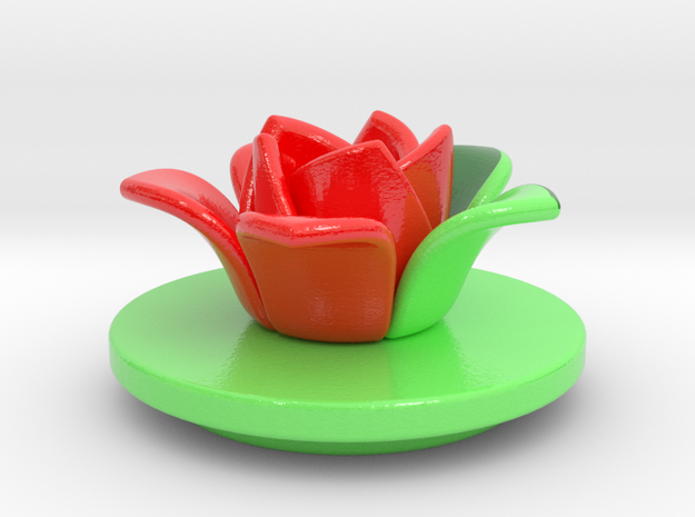 Cup3-lid-flower-3d in Coated Full Color Sandstone