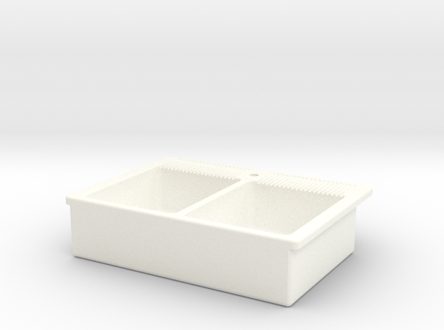 Miniature Doll House Kitchen Sink A, 1:12 in White Strong & Flexible Polished