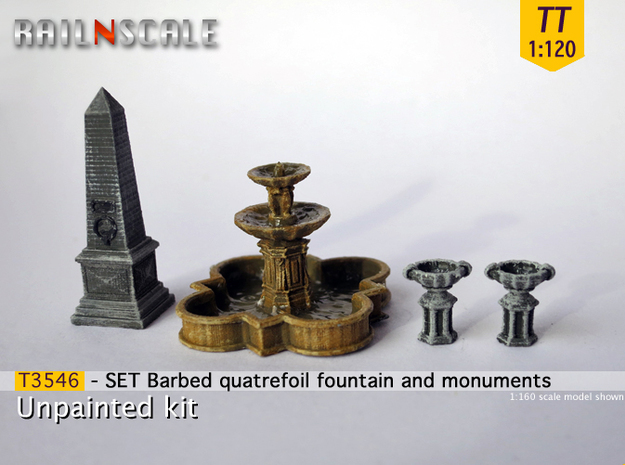 SET Quatrefoil fountain with monument (TT 1:120) in Frosted Ultra Detail