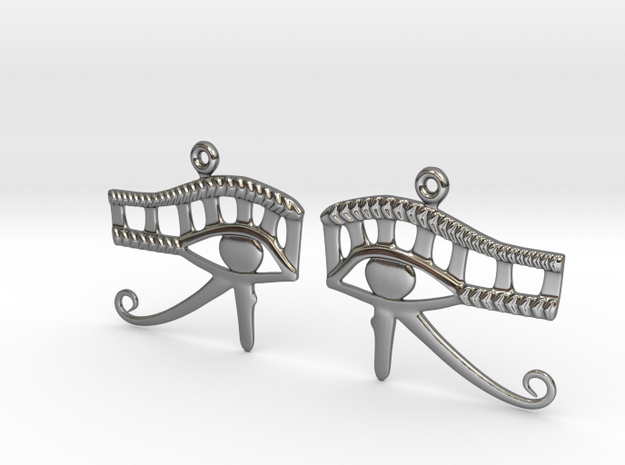 Eye Of Horus EarRings - Pair - Precious Metal in Fine Detail Polished Silver