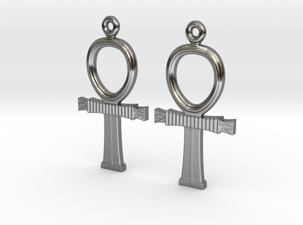 Ankh EarRings - Pair - Precious Metal in Fine Detail Polished Silver