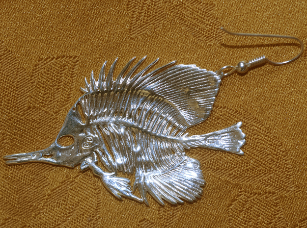 Butterfly Fish Earring/Pendant in Natural Silver