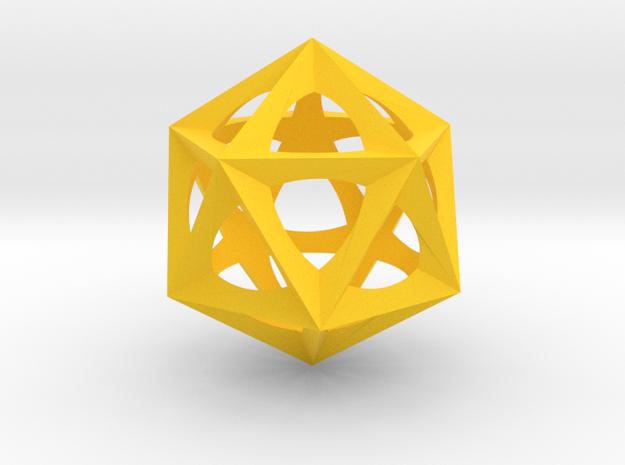 0577 Icosohedron (E, 2.5 cm) in Yellow Processed Versatile Plastic