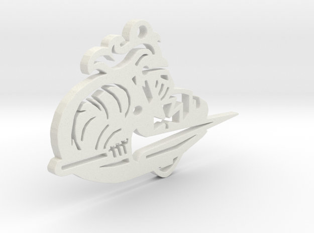 Lancer Keychain or Ornament in White Natural Versatile Plastic