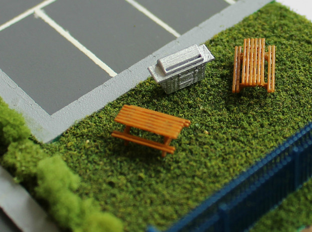 N Scale 6x Picnic Bench