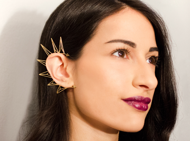 Brass triangles earcuff