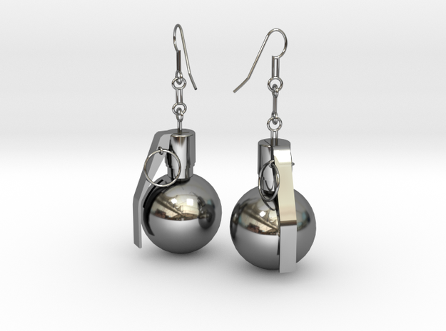 U.S. Army M67 granade earrings in Premium Silver