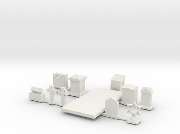 1:35 Headstones in White Natural Versatile Plastic
