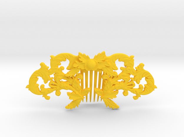 Hair Comb in Yellow Processed Versatile Plastic