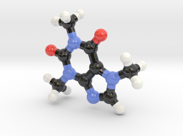 Caffeine molecule model 3d printed
