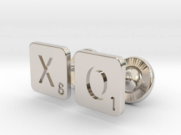 Hugs and Kisses XO Scrabble Cufflinks in Rhodium Plated Brass