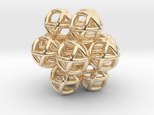 Egg of Life - Fractal Ganesha Sphere 30mm in 14k Gold Plated Brass