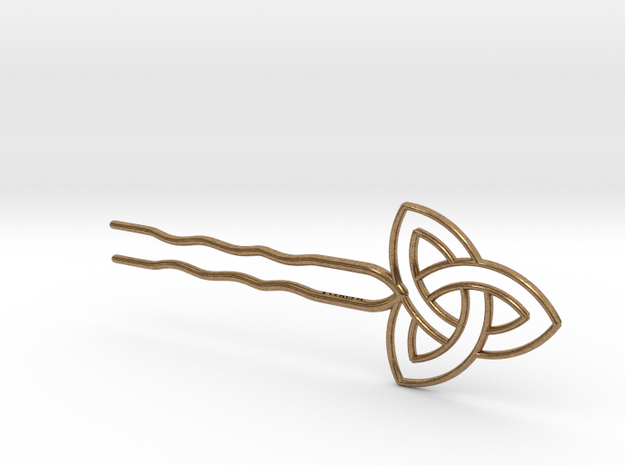 Hairpin - Celtic Knot in Raw Brass