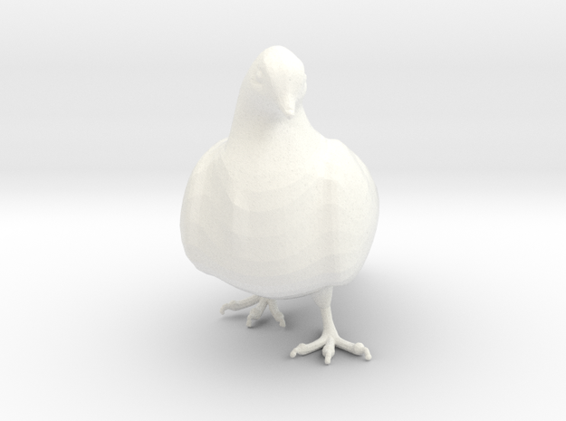 Bird No 3 (Doves) in White Strong & Flexible Polished