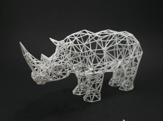 Digital Safari - Rhino (Medium) in White Natural Versatile Plastic