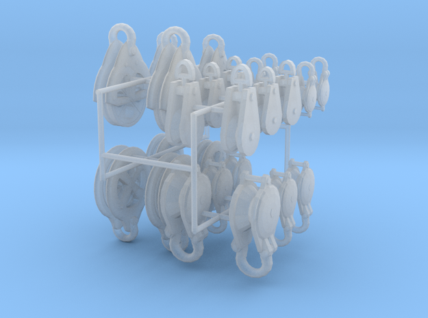 large set rigging blocks and pulleys in Smooth Fine Detail Plastic