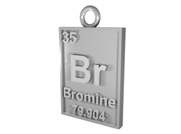 Bromine Periodic Table Pendant in Natural Silver