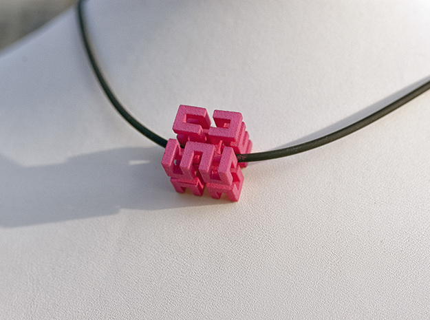 Hilbert cube ( pendant ) 3d printed strong and flexible