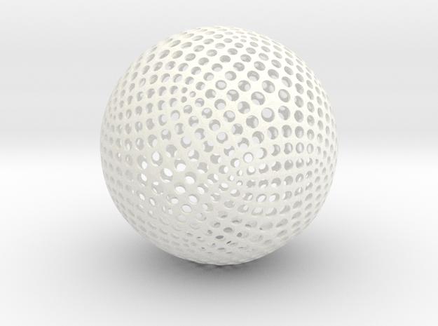 Designer Sphere in White Processed Versatile Plastic