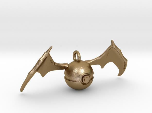 Charizard Pokeball Pendant in Polished Gold Steel
