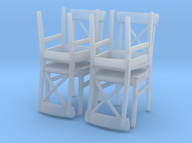 IKEA Ingolf Chair Set of 4 in Smooth Fine Detail Plastic: 1:24