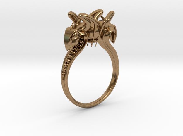 Snake head Ring in Raw Brass: 7.5 / 55.5