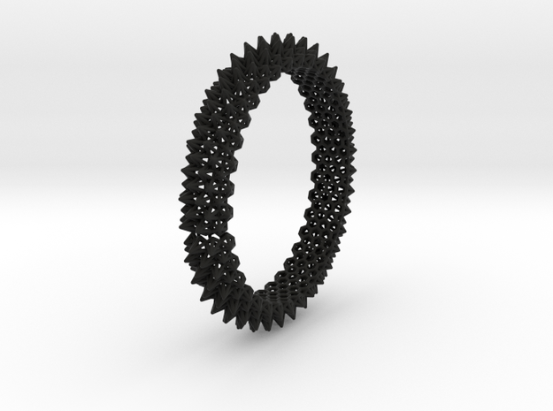 Spikey Bangle 2 in Black Natural Versatile Plastic