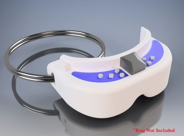 FPV Goggles Keychain in White Strong & Flexible: Small