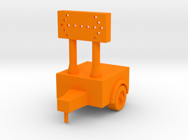 Construction Arrow - Trailer - HO 87:1 Scale in Orange Processed Versatile Plastic