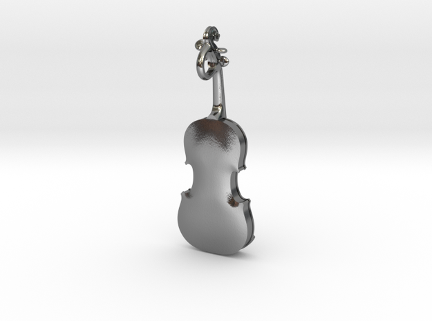 Violin Pendant in Polished Silver