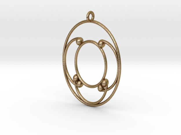 Oval Pendant in Polished Gold Steel