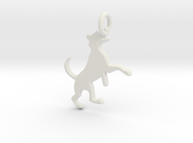 Dog Jumping with flat back 2mm thick in White Strong & Flexible
