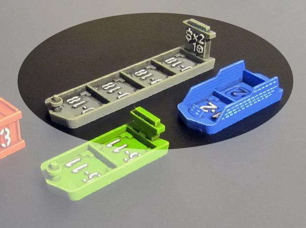 Cruise & Giant cargo ships (4 pcs) in Blue Strong & Flexible Polished