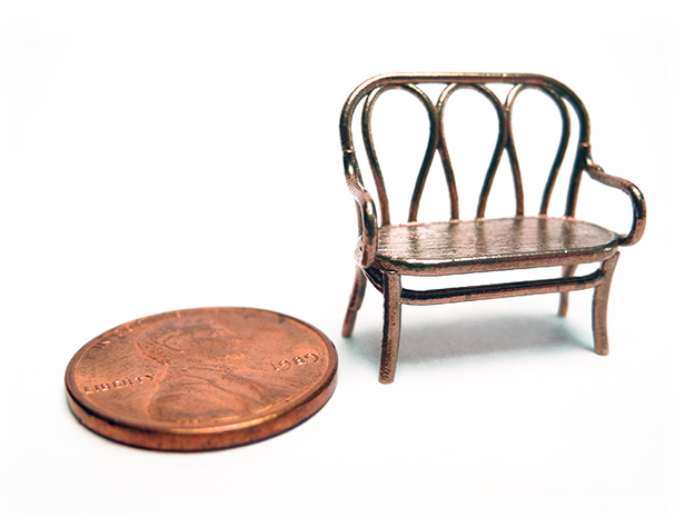 1:48 Bentwood Settee in Raw Bronze