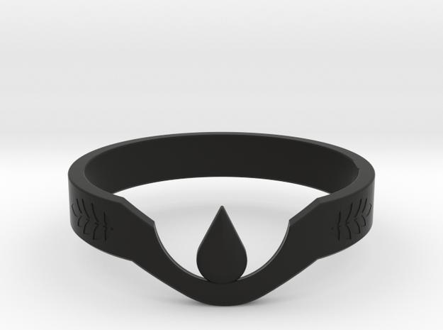 Suspended Teardrop Ring (Laurel) in Black Natural Versatile Plastic