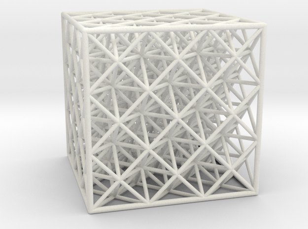 Octet Truss Cube (3x3x3)  in White Strong & Flexible