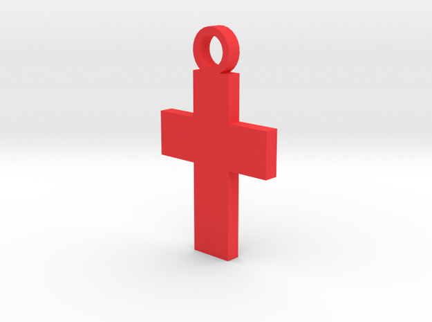 Cross Necklace in Red Strong & Flexible Polished
