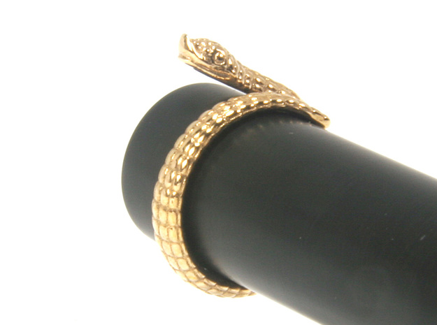 Hognose Snake Ring US4 / Fountain Pen Roll-stopper in Polished Bronze