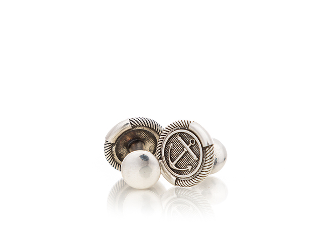ANCHOR CUFFLINKS (single) in Natural Silver