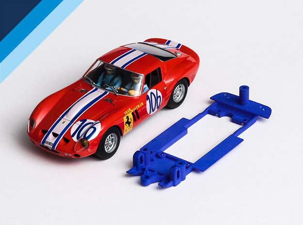 1/32 Fly Ferrari 250 GTO Chassis for Slot.it pod in Blue Strong & Flexible Polished