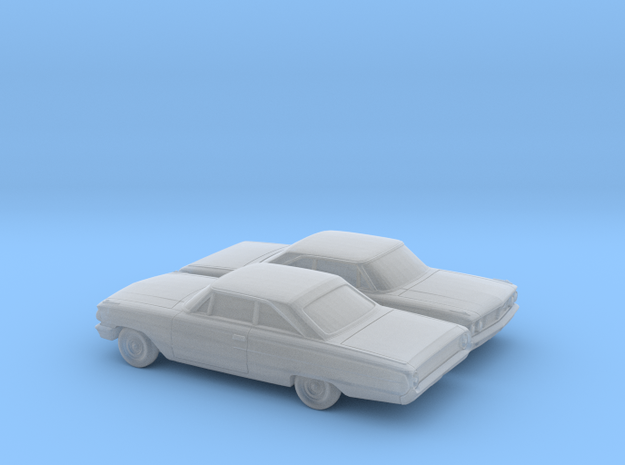 1/160 2X 1964 Ford Galaxie Coupe in Smooth Fine Detail Plastic