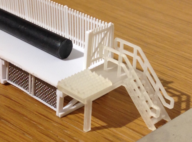 N Scale 6x Platform End Stairs in Smooth Fine Detail Plastic