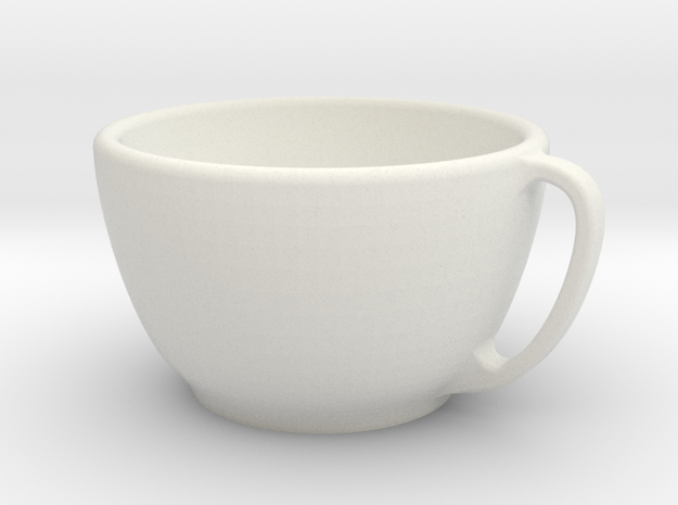 Larger Handled Mug in White Natural Versatile Plastic