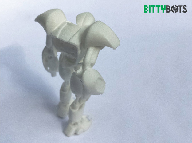 Humanoid BittyBot MK1 3d printed Polished White Strong and Flexible