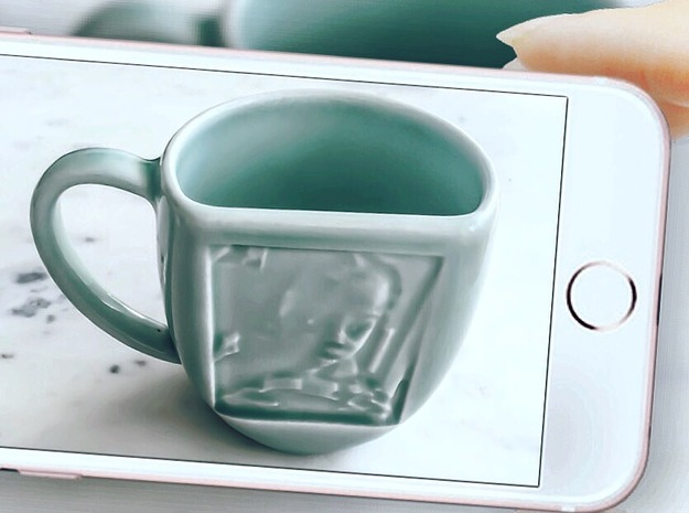 Celadon Selife Mug (Left Handle) in Gloss Celadon Green Porcelain