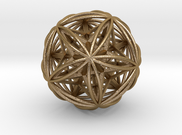 "Icosasphere w/Nest Stellated Dodecahedron 1.8"" in Polished Gold Steel"