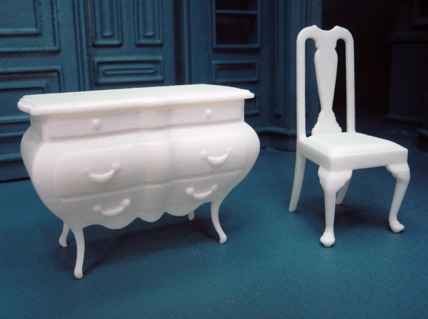1:24 Bombe Chest 3d printed Shown with our Queen Anne Chair, sold separately